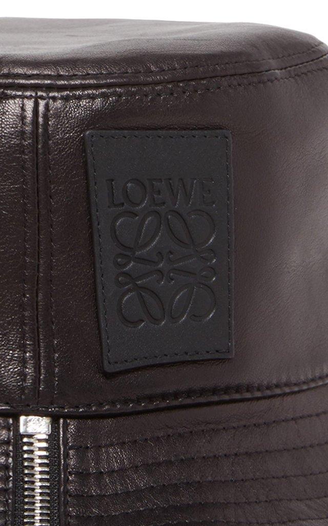 Fisherman Zip-Detailed Leather Bucket Hat