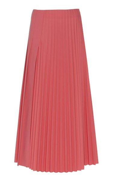 Sallis Pleated Wool-Blend Midi Skirt