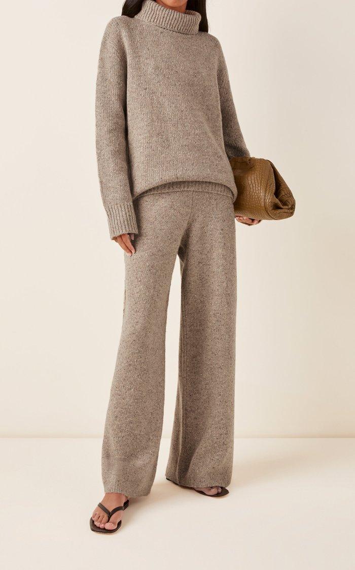 Tweed Knit Wool-Blend Flared Pants
