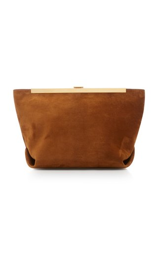 Augusta Envelope Pleat Frame Suede Crossbody Bag