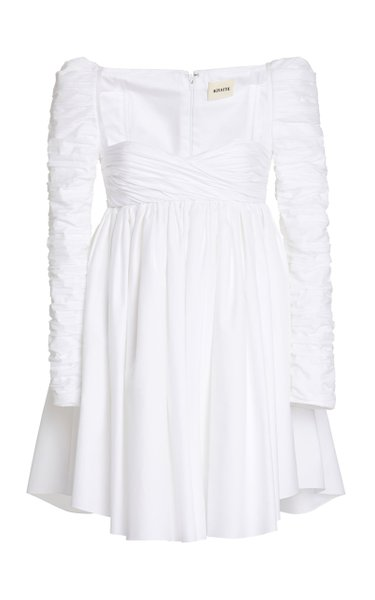 Suanne Ruched Cotton Mini Dress