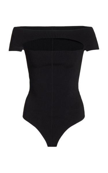 Talie Off-The-Shoulder Cutout Stretch-Jersey Bodysuit