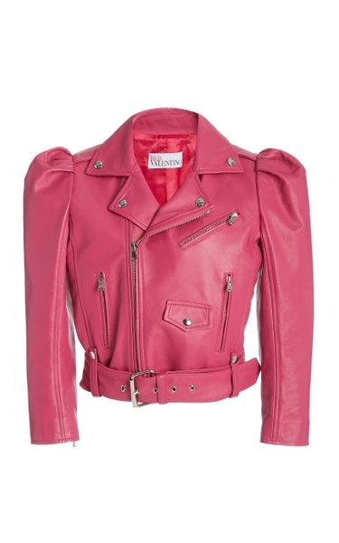 Puff Sleeve Cropped Leather Jacket