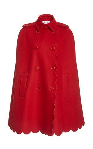 Scalloped Cashmere-Blend Cape Jacket