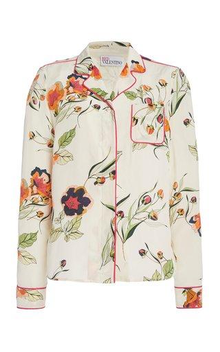 Printed Silk Pajama Top