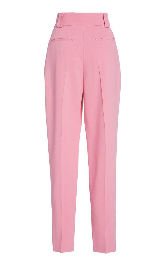 Pleated Crepe Wide-Leg Pants
