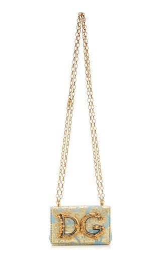 Micro Embellished Floral Brocade Leather Shoulder Bag
