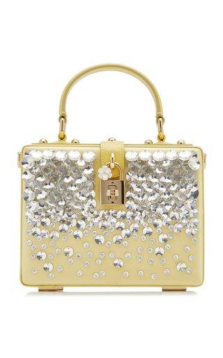 Dolce Box Embellished Satin Top Handle Bag
