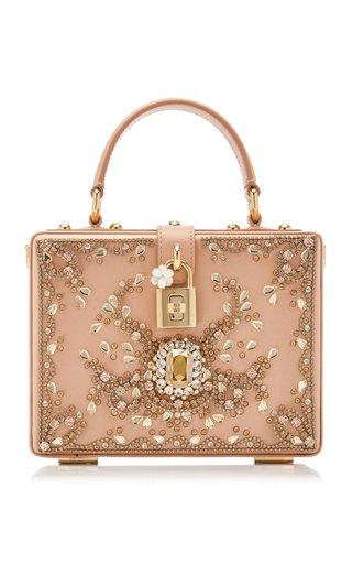 Embellished Satin Top Handle Bag