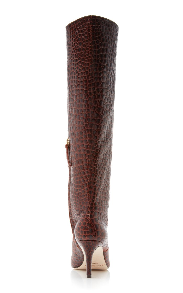 Jett Snake-Effect Leather Knee Boots