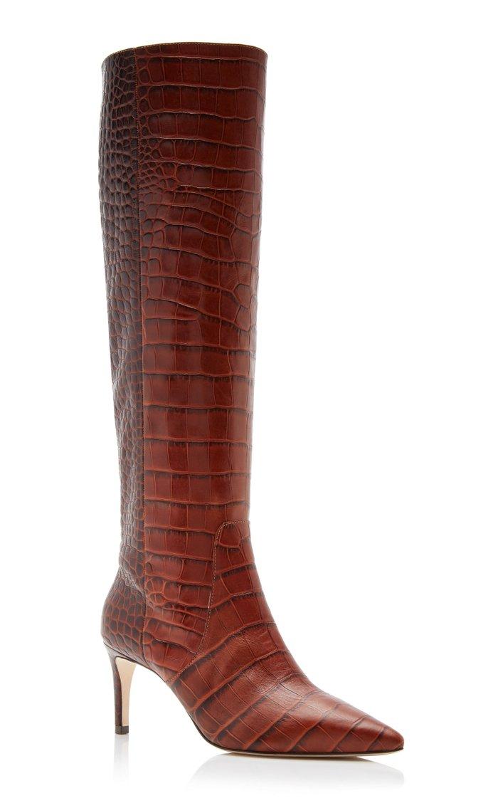Jett Snake-Effect Leather Knee Boots