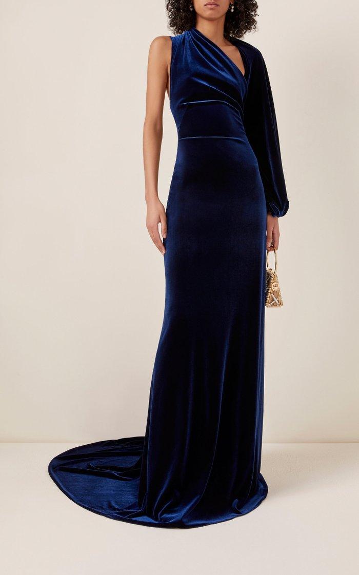 One-Shoulder Stretch-Velvet Gown