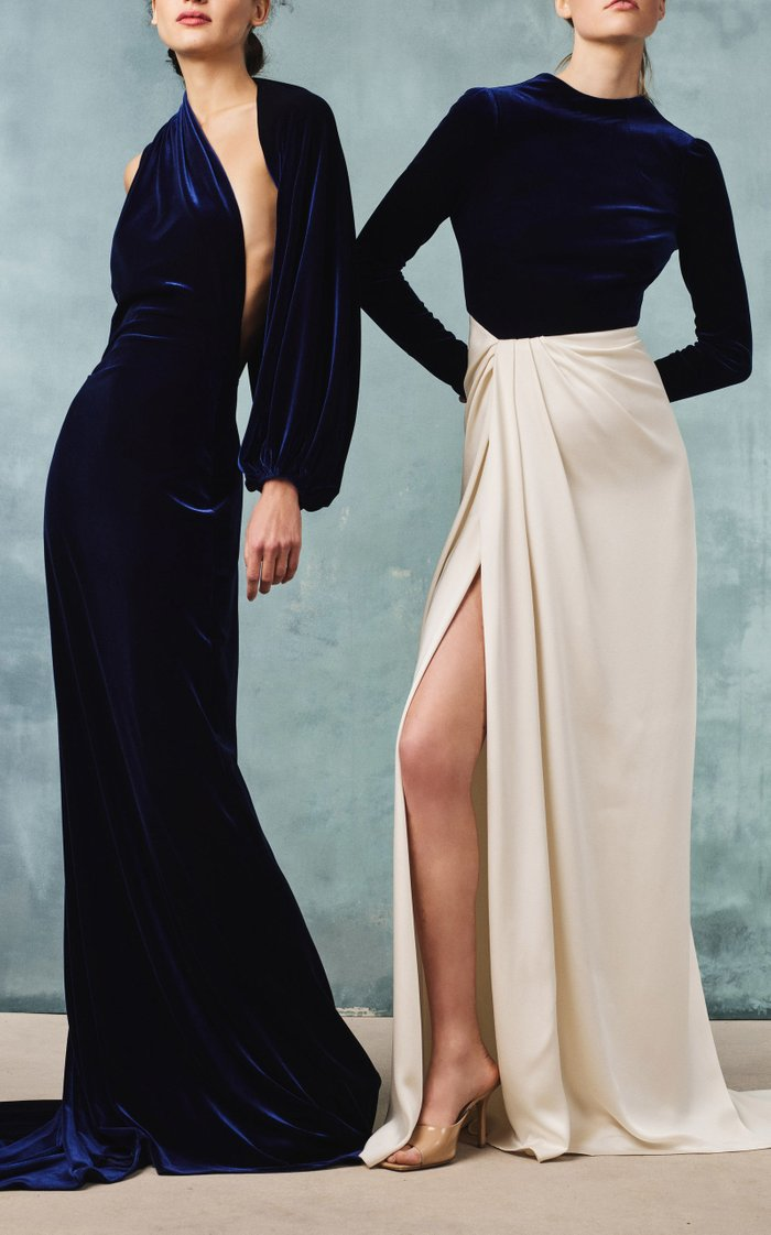 Two-Tone Velvet And Satin Gown
