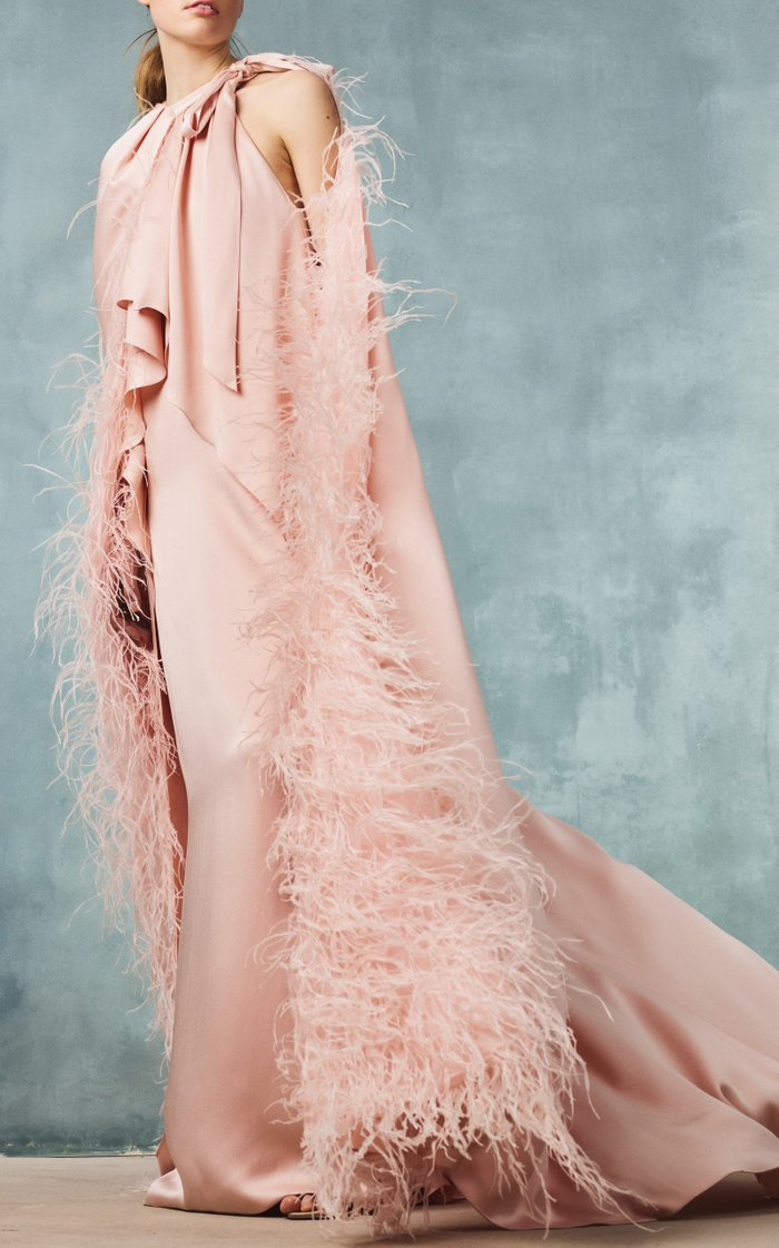 Feather-Embellished Crepe Cape