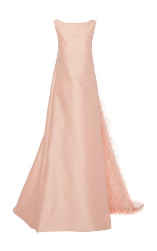 Feather-Lined Satin Gown