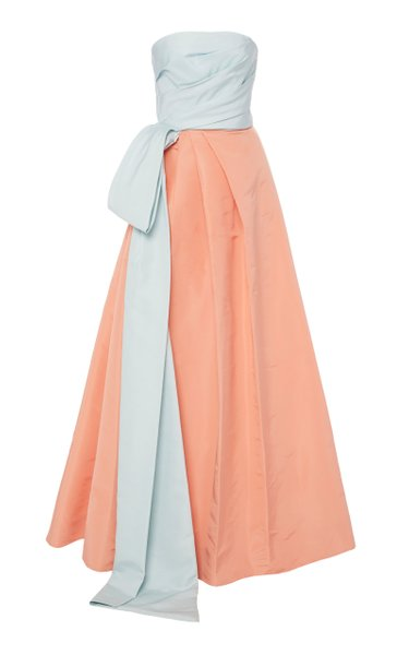 Two-Tone Tie-Detailed Silk-Faille Gown
