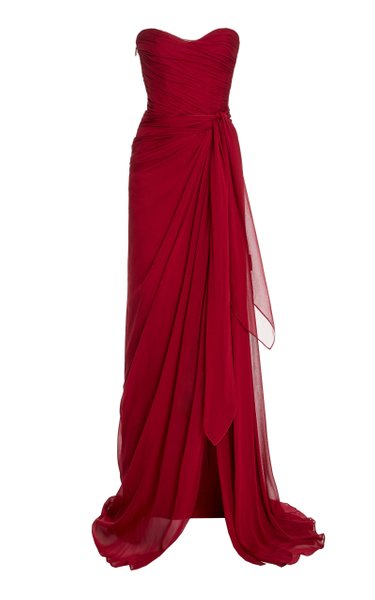 Strapless Draped Silk Gown