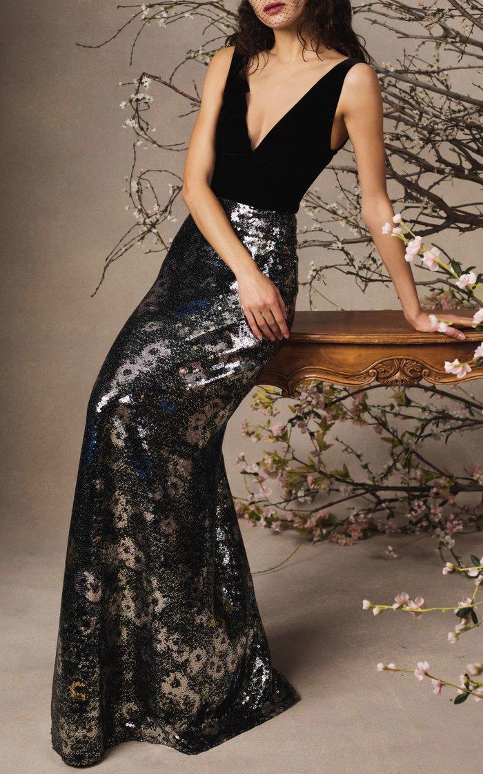 Velvet-Paneled Sequined Chiffon Maxi Dress