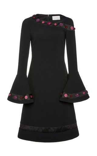 Stretch Crepe Dress With Floral Embroidery