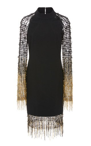 Stretch Crepe Cocktail With Grid Sequin And Ombre Fringe Sleeve