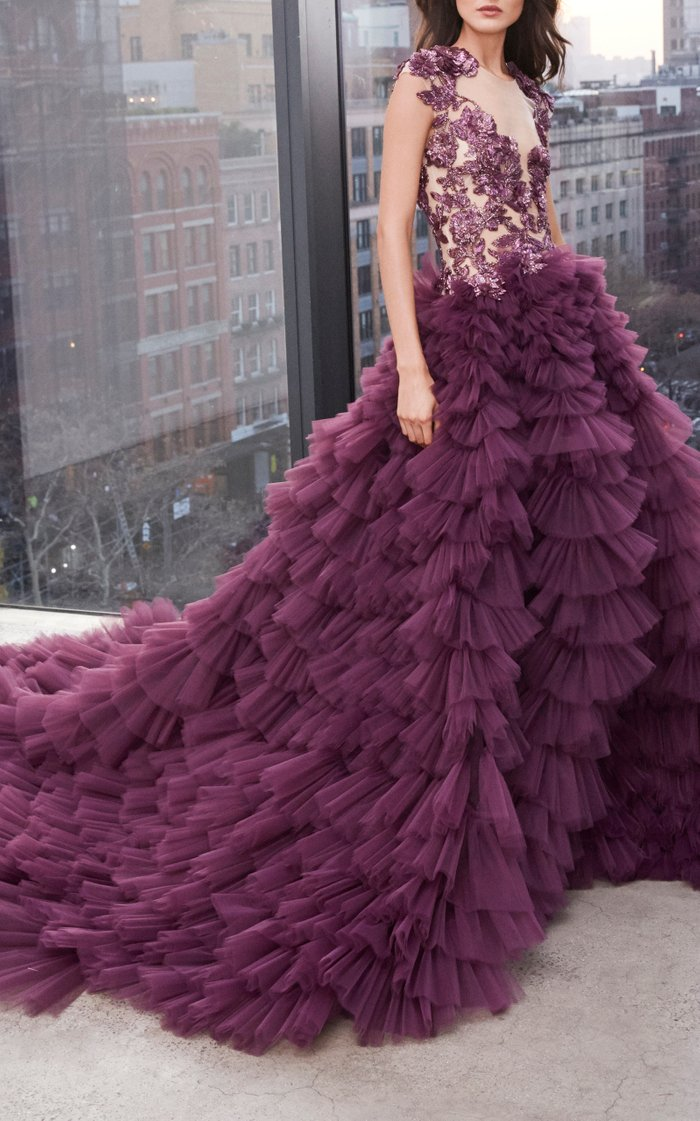 Tulle Gown With Embroidered Bodice