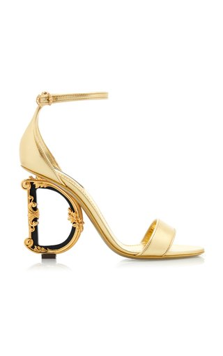 Logo-Embellished Leather Heeled Sandals