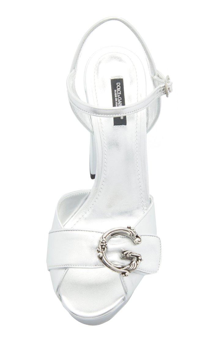 Embellished Platform Leather Sandals
