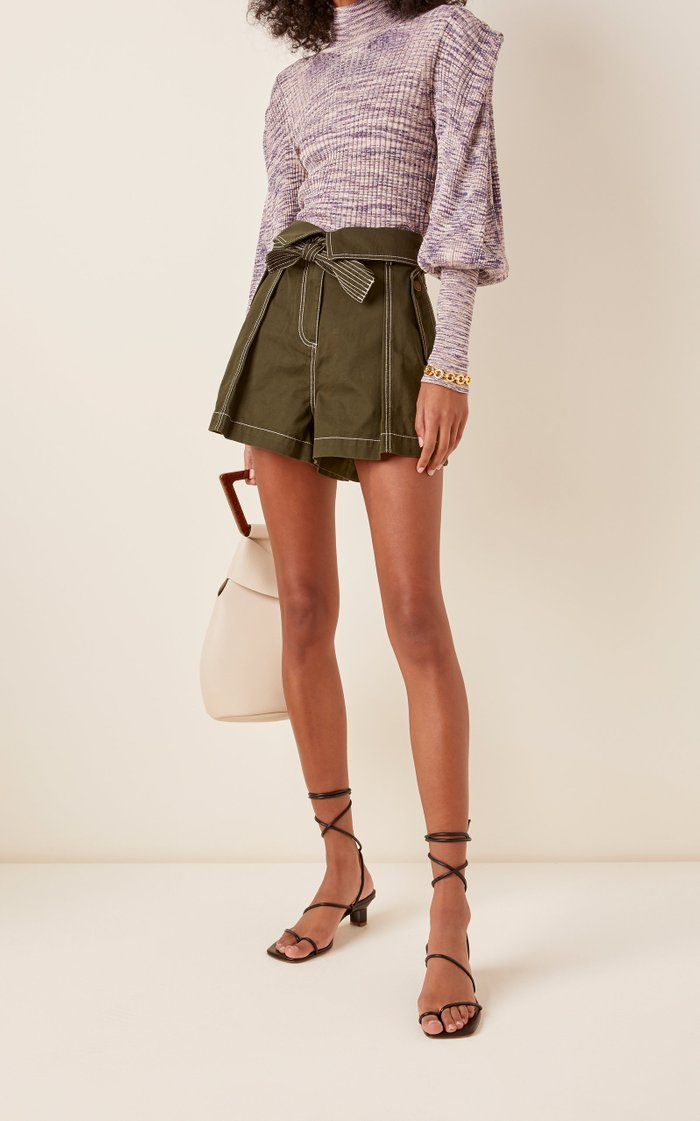 Elliott Tie-Detailed Cotton-Gabardine Shorts