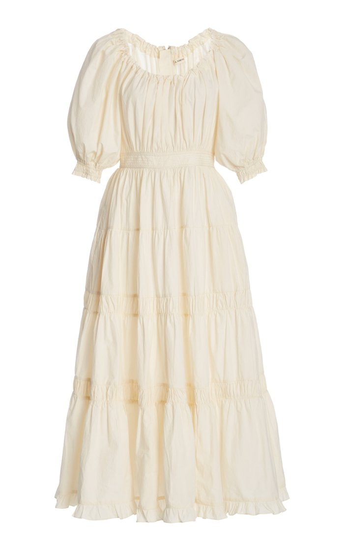 Colette Shirred Cotton Midi Dress
