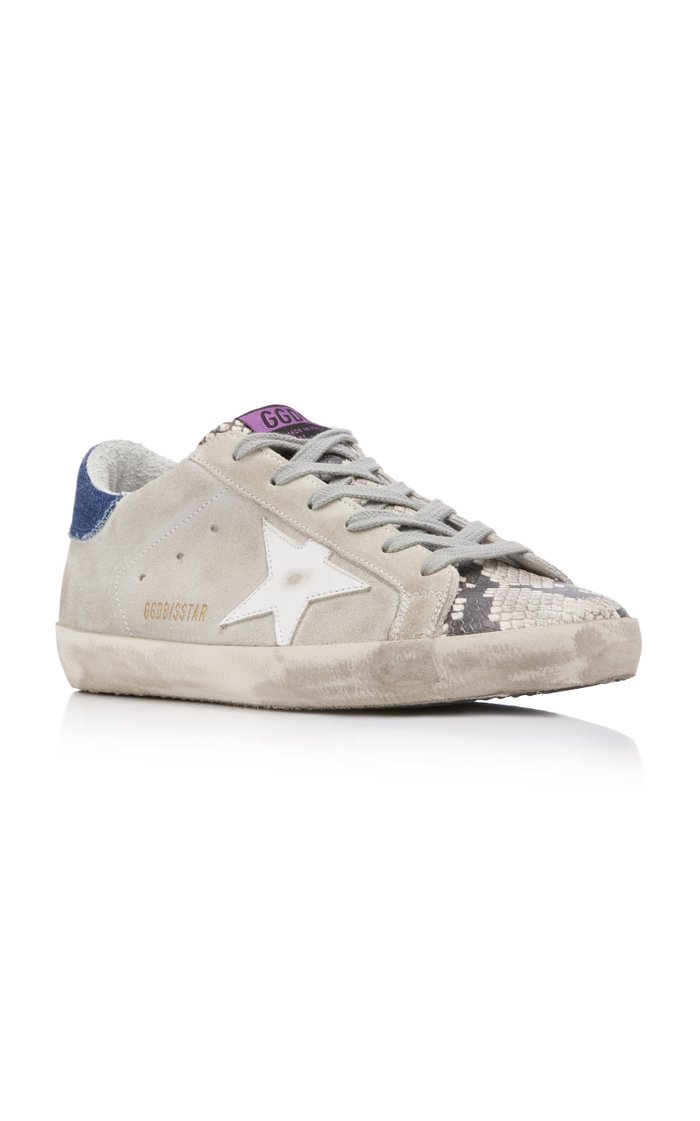 Superstar Distressed Snake Leather Sneakers