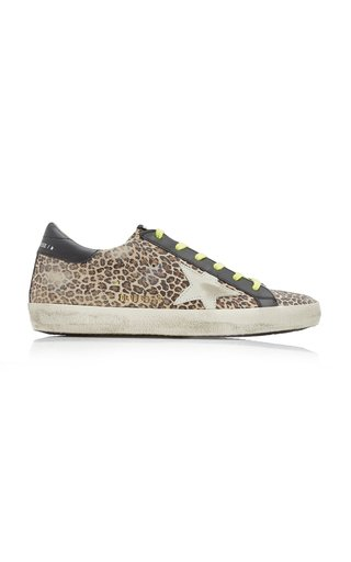 Superstar Distressed Leopard Leather Sneakers