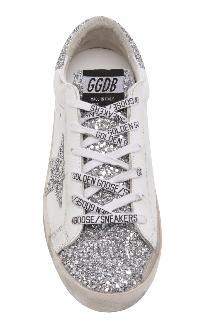 Superstar Glitter-Embellished Leather Sneakers