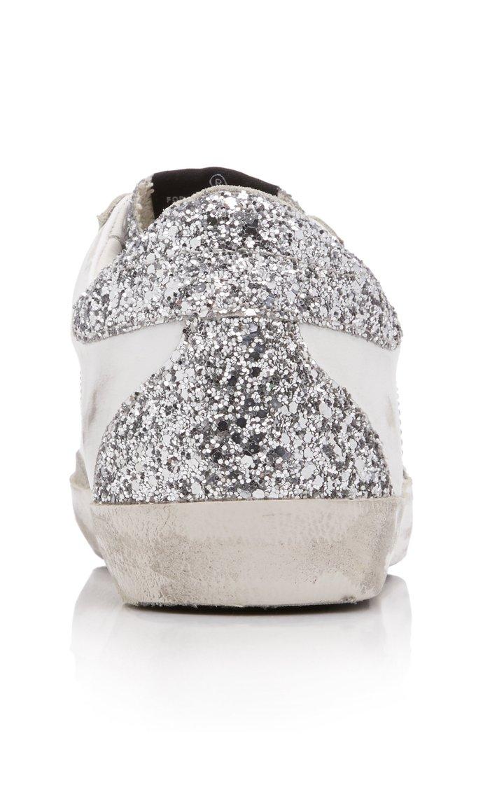 Superstar Glitter-Embellished Leather Sneakers