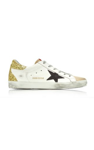 Superstar Glitter-Detail Leather Sneakers