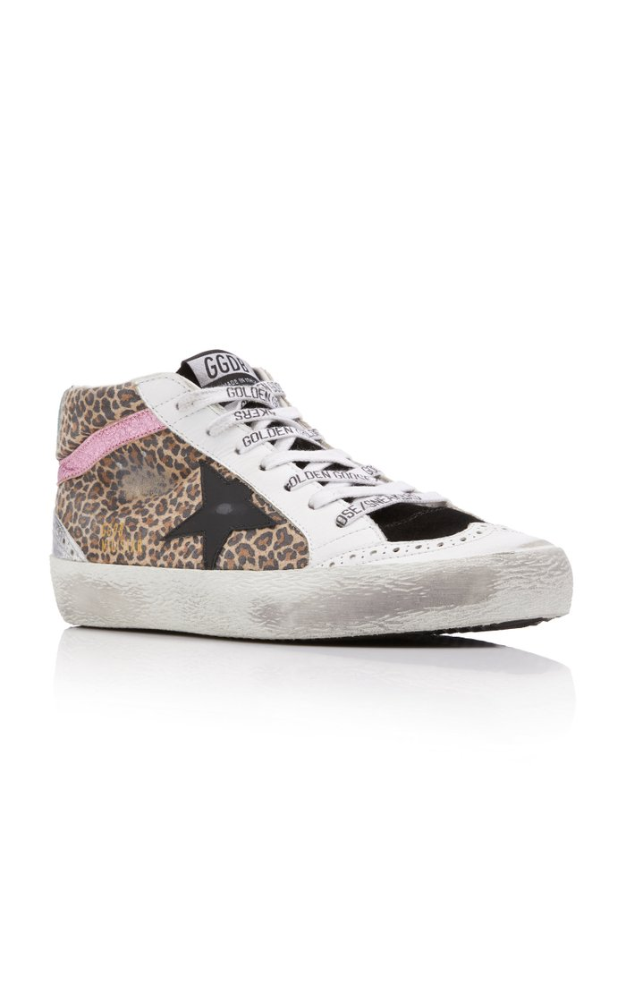 Mid-Star Leopard Leather Sneakers