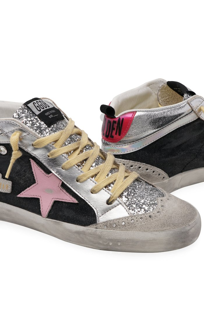 Mid-Star Glitter-Embellished Leather Wave Sneakers