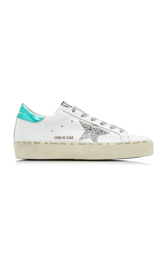 Hi Star Glitter-Detail Leather Sneakers