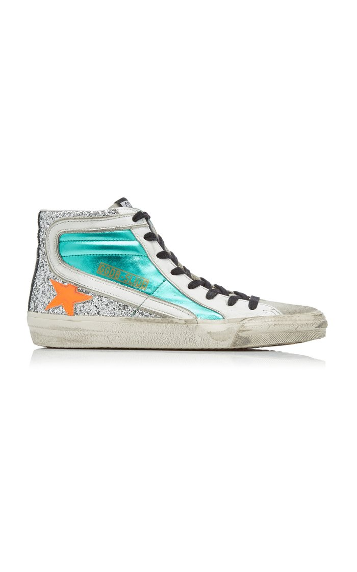 Glittered Leather High-Top Sneakers