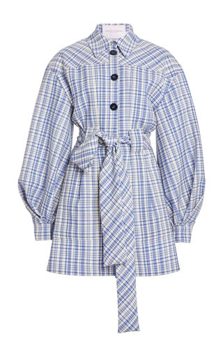 Checked Belted Stretch-Wool Mini Dress