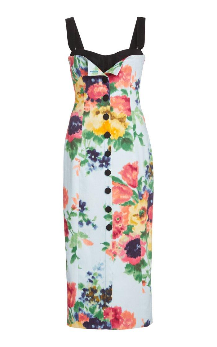 Floral-Print Stretch-Cotton Midi Dress
