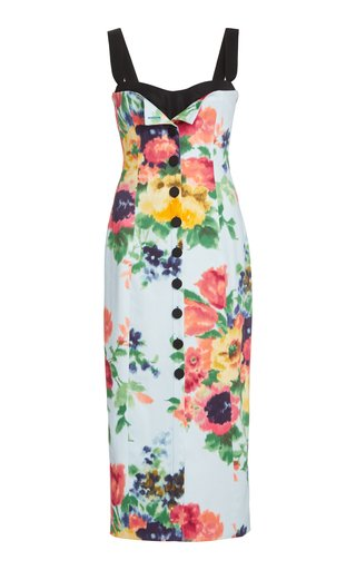 Floral-Print Stretch-Cotton Midi Dress