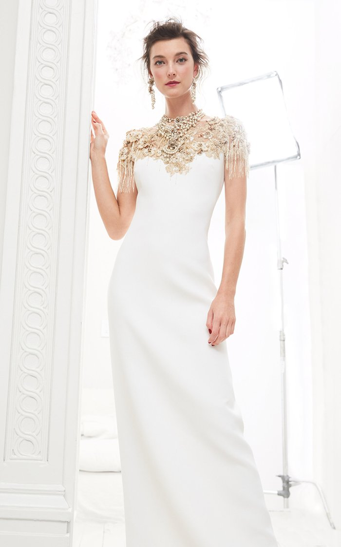 Sequined Crepe Gown