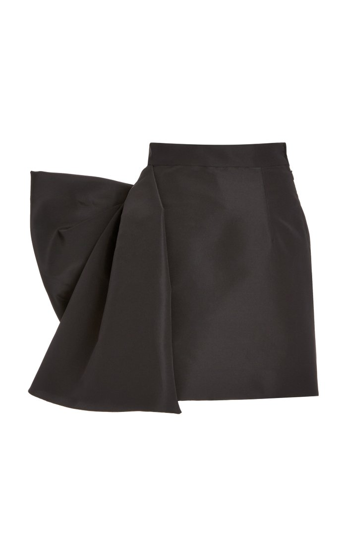 Bow-Embellished Silk-Faille Mini Skirt