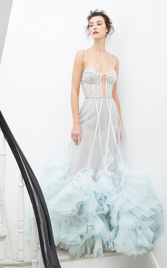 Embellished Ruffled Organza Gown