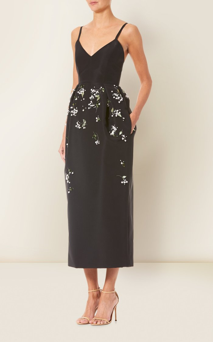 Floral-Embroidered Silk-Faille Dress