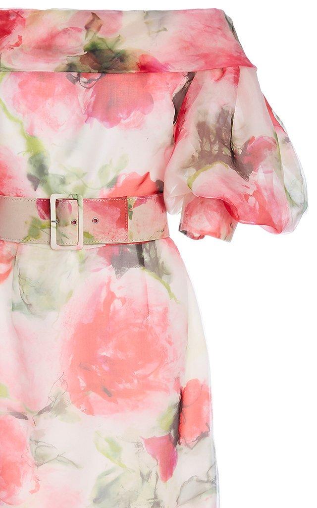 Floral-Print Belted Silk-Blend Dress