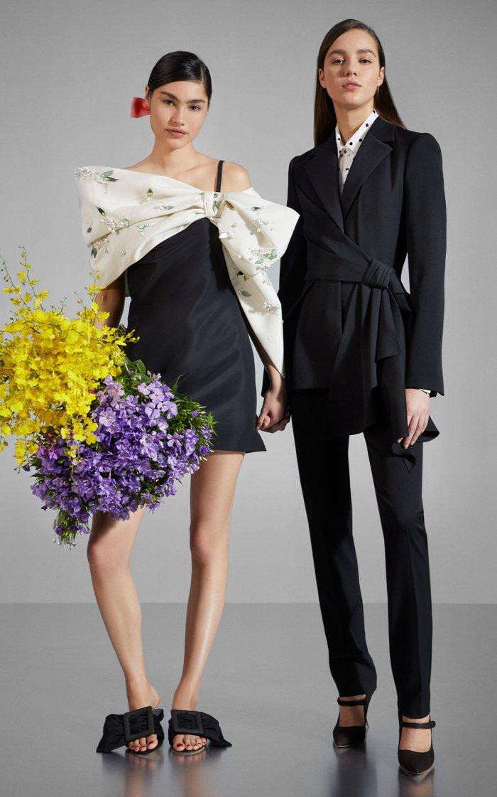 Draped Embellished Silk-Faille Mini Dress
