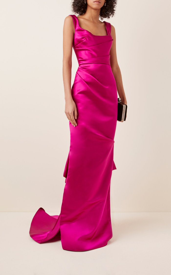Lace-Up Silk-Satin Gown