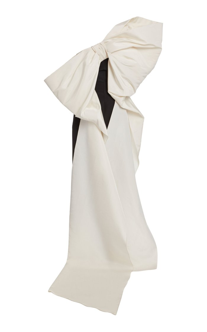 Bow-Embellished Silk-Faille Gown