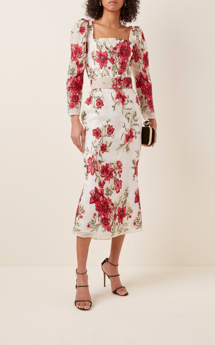 Floral-Printed Belted Silk Dress